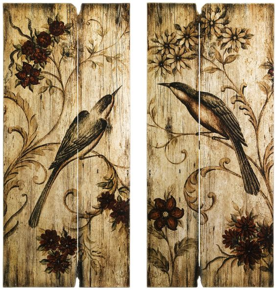 Rustic Country Wall Art Set Birds Flowers 2 Wood Panels 39\