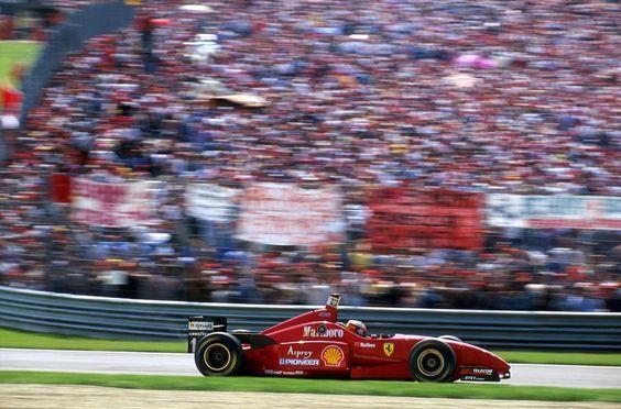 "Alles Gute zum Geburtstag Schumi! "" Ferrari Friday … crowd favorite Michael Schumacher, Marlboro Ferrari F310, 1996 San Marino Grand Prix, Imola """