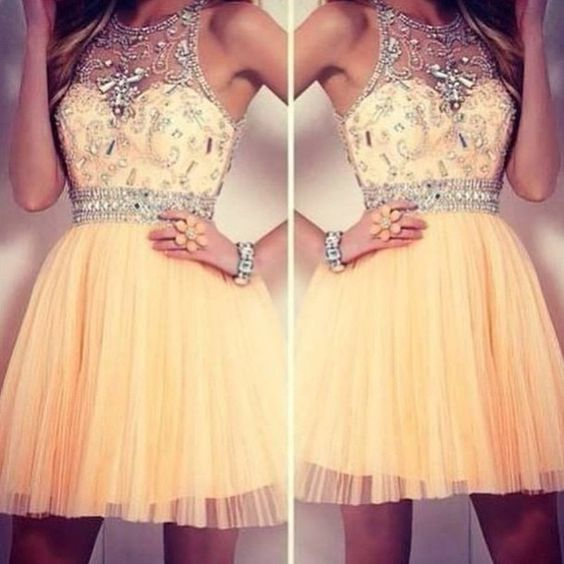 Image of Custom Made Round Neck Short Prom Dresses, Short Graduation Dresses