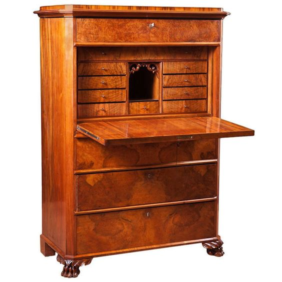 Antique Swedish Fall-front Secretary in Figured Walnut, c. 1850