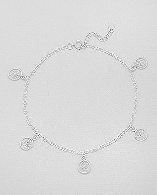 sterling silver anklet decorated with cobweb charms