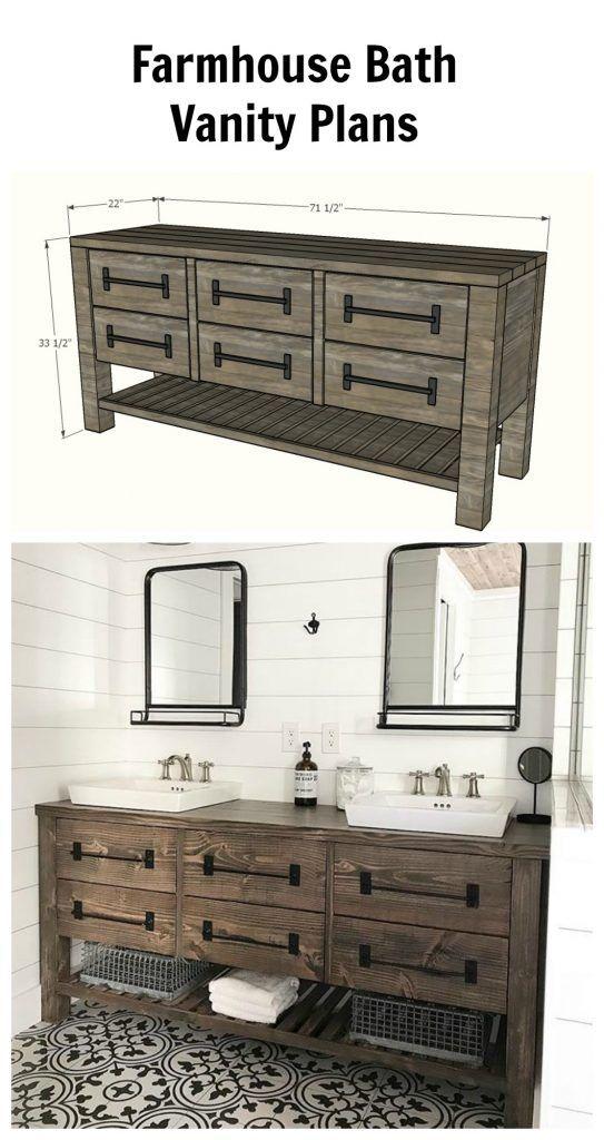 Rustic Farmhouse Double Vanity Spruc D Market Diy Bathroom