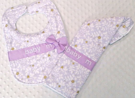 Personalized Bib and Burp Cloth Set with Bow - Baby Girl Lavender Purple and Gold Flowers Bib and Burp Cloth
