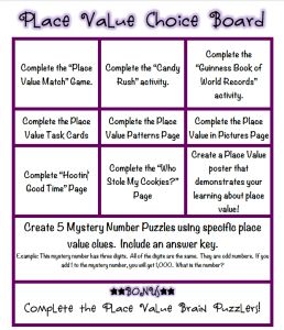 Common Core Place Value Activity Bundle with Choice Board Activities