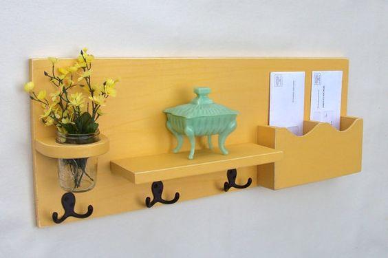 Mail Organizer - Mail Holder - Coat Hooks - Key Hooks - Jar Vase - Organizer - Coat Rack - Wood on Etsy, $49.95
