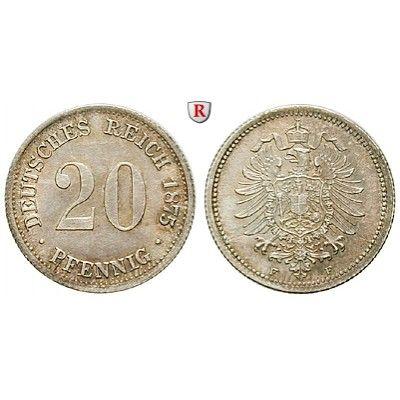 Deutsches Kaiserreich, 20 Pfennig 1875, F, st, J. 5: 20 Pfennig 1875 F. J. 5; stempelfrisch, Schrf. 65,00€ #coins