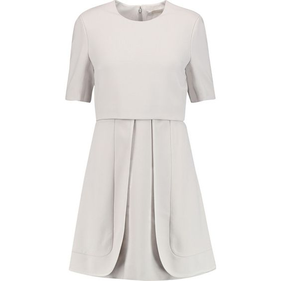 Chloé Layered crepe dress (€1.125) ❤ liked on Polyvore featuring dresses, light gray, light gray dress, chloe dress, loose fitting dresses, loose dress and double layer dress