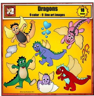 New Dragon Clip Art set from Charlotte's Clips. This 18 piece clip art set includes: 5 dragons in a variety of colors and poses 1 baby dragon hatching from an egg Priced item from Charlotte's Clips http://www.teacherspayteachers.com/Product/Dragon-Clip-art-from-Charlottes-Clips-734543