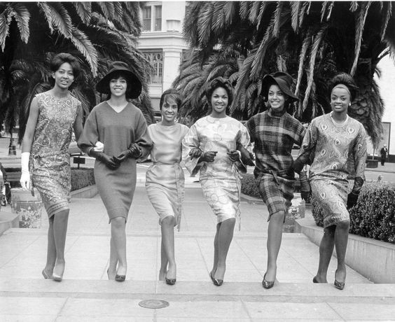 """""""Six Women"""" (actress Vonetta McGee is second from the right) was taken by David S. Johnson, the premier chronicler of Black life in San Francisco in the 1950s and 1960s.// Vintage Black Glamour"""