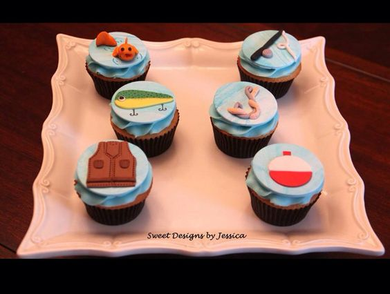 Fishing themed cupcake toppers my cakes pinterest for Fishing themed cake toppers