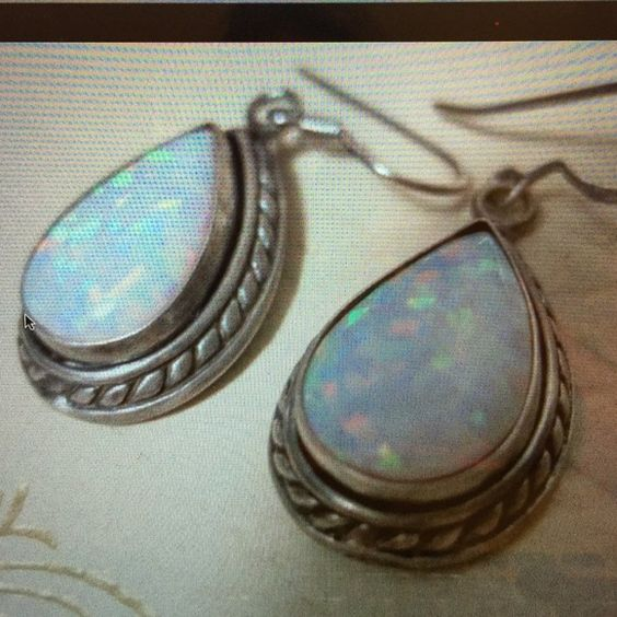 Opal silver earrings Beautiful metal work. Signed 925 on back. Jewelry Earrings