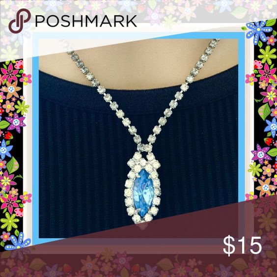 🌺🌴🌺 EXQUISITE VINTAGE CZ NECKLACE 🌺🌴🌺 🌺🌴🌺  A beautiful piece from the past but can still fit in right today.  The gorgeous medium blue oval shaped CZ has all the sparkle you'd expect in a vintage piece which always seems to carry from one generation to the next.  The CZ is surrounded by crystal rhinestones and up to the closure.  Both elegant and chic. 🌺🌴🌺 Jewelry Necklaces