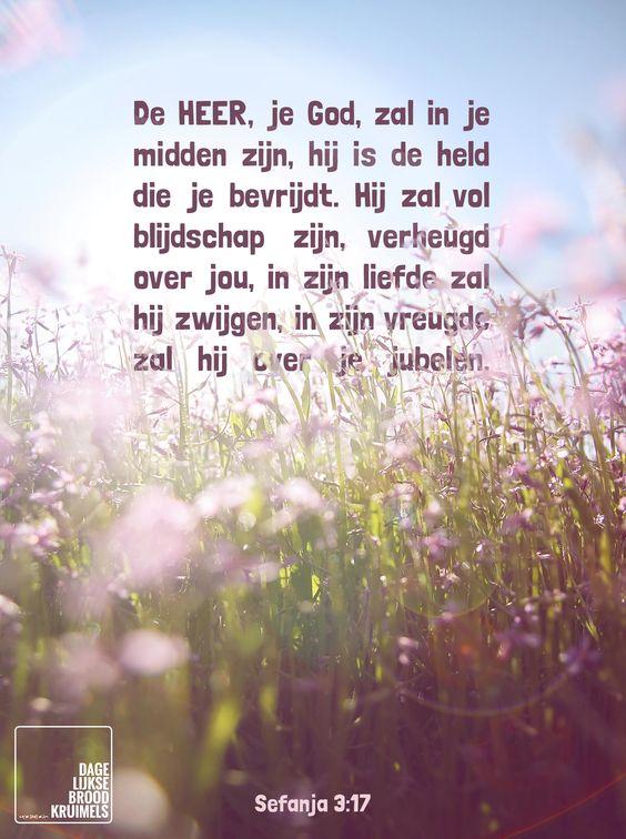 De HEER, je God, zal in je midden zijn, hij is de held die je bevrijdt. Hij zal vol blijdschap zijn, verheugd over jou, in zijn liefde zal hij zwijgen, in zijn vreugde zal hij over je jubelen. Sefanja 3:17  #God, #Liefde, #Vreugde  http://www.dagelijksebroodkruimels.nl/sefanja-3-17/
