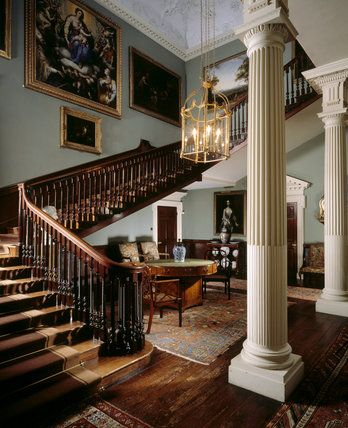 The Staircase Hall at Saltram House, Plympton, Plymouth, England.