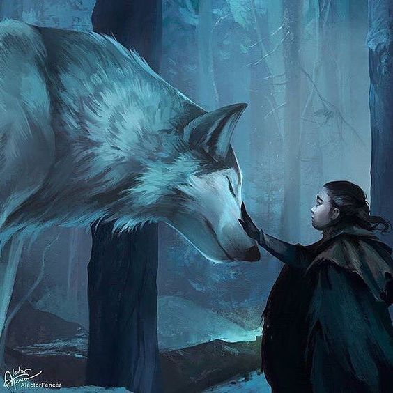 Arya and Nymeria fanart 💙 by @AlectorFencer -