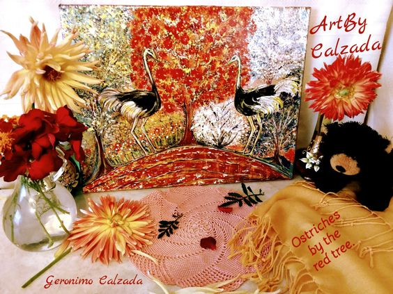 Ostriches by the red tree by ArtByCalzada on Etsy