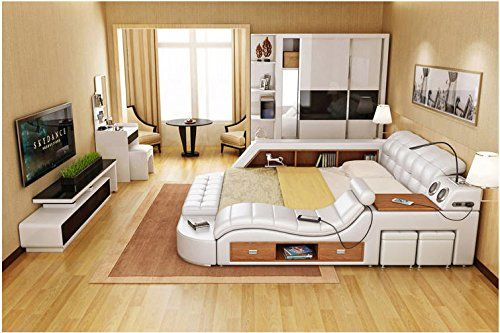 All In One Double Bed Frame With Speakers Storage Safe Perfect Relaxation N Door To Door Delivery Leather Bedroom