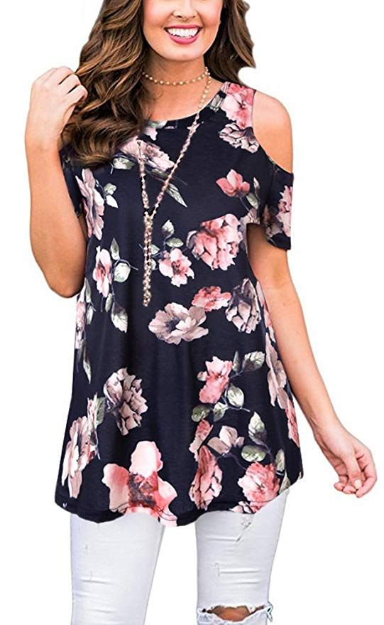 Women Summer Cold Shoulder Blouses Short Sleeve Floral Printed Casual Loose Tops Shirts