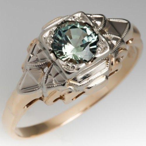 No Heat Light Blue Green Sapphire Intricate Retro Ring 14k Gold Gold14kjewelry Gold14krings Sapphire Engagement Ring Blue Blue Engagement Ring Retro Ring