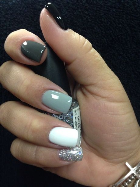 Black White And Gray Nail Designs Shellac Nails Glitter Short Nails Shellac Gray Nails