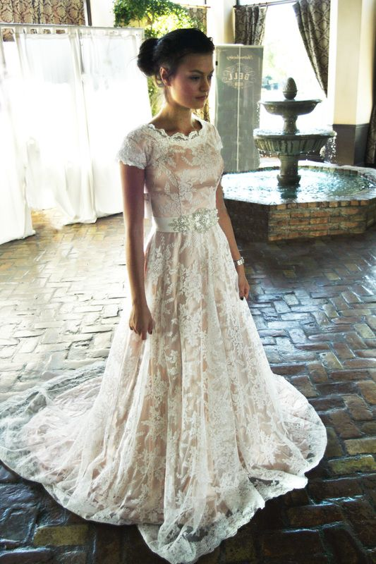 Maybelle by elizabeth cooper design lace modest for Salt lake city wedding dresses