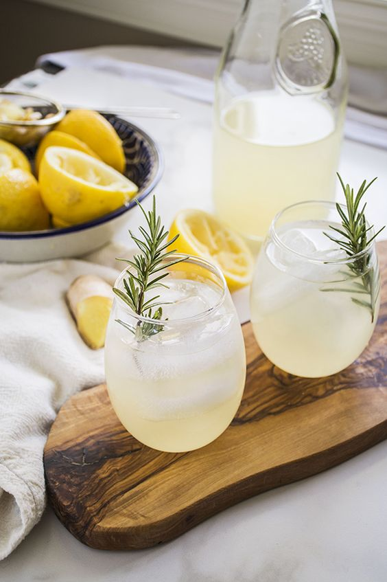Naughty or Nice Ginger Lemonade (with bourbon for the 'naughty' version!)