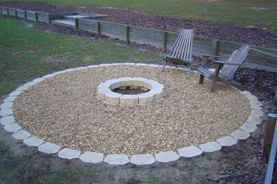 Fire pits fire and stone work on pinterest for Gravel around fire pit