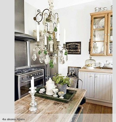 A chandelier in a kitchen? YES PLEASE!