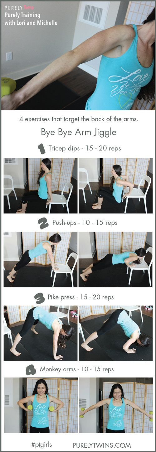 Alright ladies are you looking to tone up your arms? Get rid of arm jiggle and sculpt your arms with this workout. Grab a chair and some free weights and do this workout with us. 4 powerful tricep exercises for women to tone up the back of the arms.