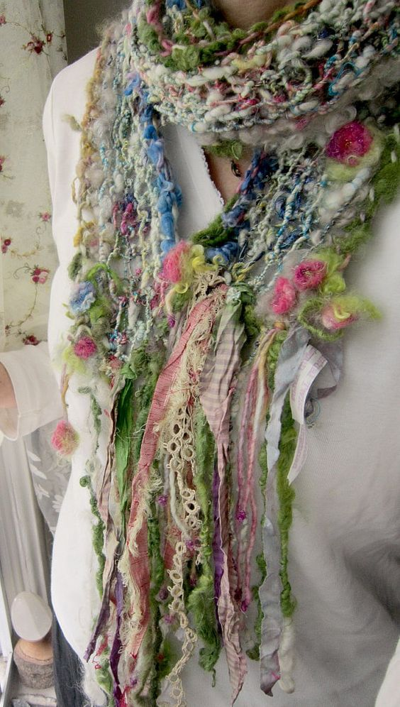 scrap fairy princess enchanted and sparkling by beautifulplace, freeform knit crochet scarf - lovely