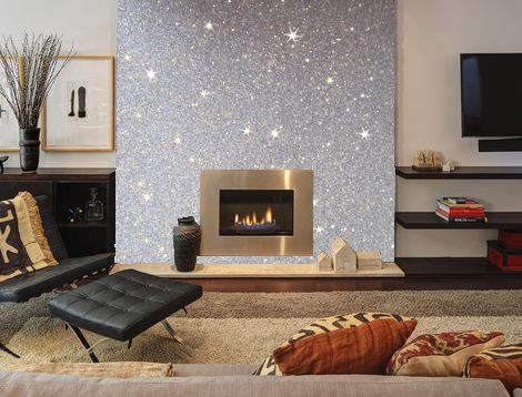 Photo of our silver glitter wallcovering put onto a Wallpaper and paint ideas living room