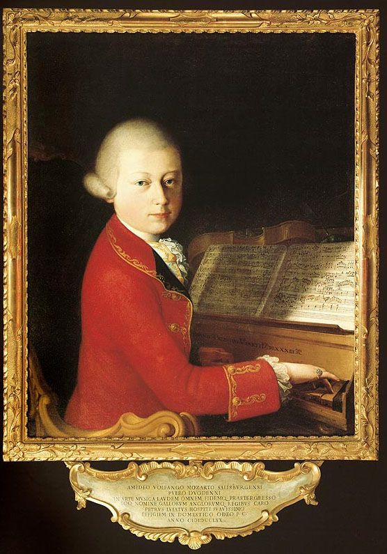Wolfgang Amadeus Mozart [born (Joannes Chrisostomus) Wolfgang Gottlieb Mozart; ennobled as Cav. Amadeo Wolfgango Mozart] (1756-1791), painting (1770), by Saverio dalla Rosa (1745-1821).: