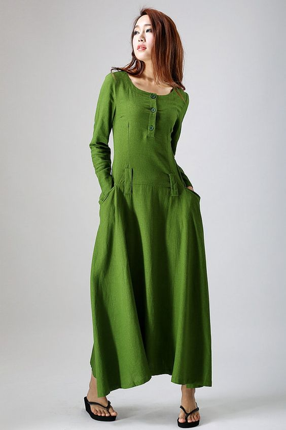 Leaf green long-sleeved linen dress woman's maxi by xiaolizi