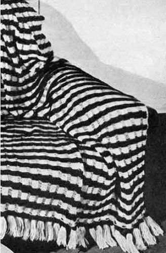 Knit Slip Stitch Afghan Pattern : TWO TONE SLIP-STITCH KNITTED AFGHAN PATTERN - Vintage 1947 Knitting Pattern (...