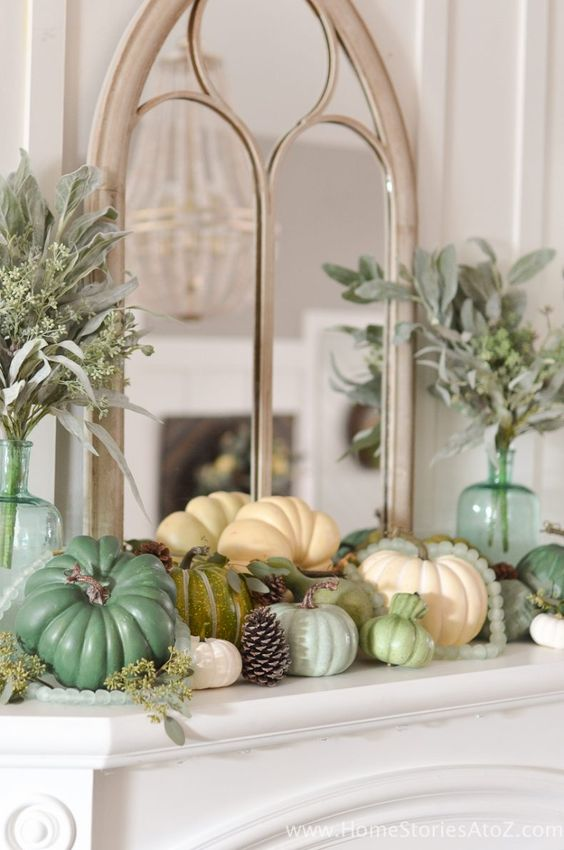 Whether you're dressing up an entryway table, or decorating your vanity, these mint and cream fall decorations are so ELEGANT!