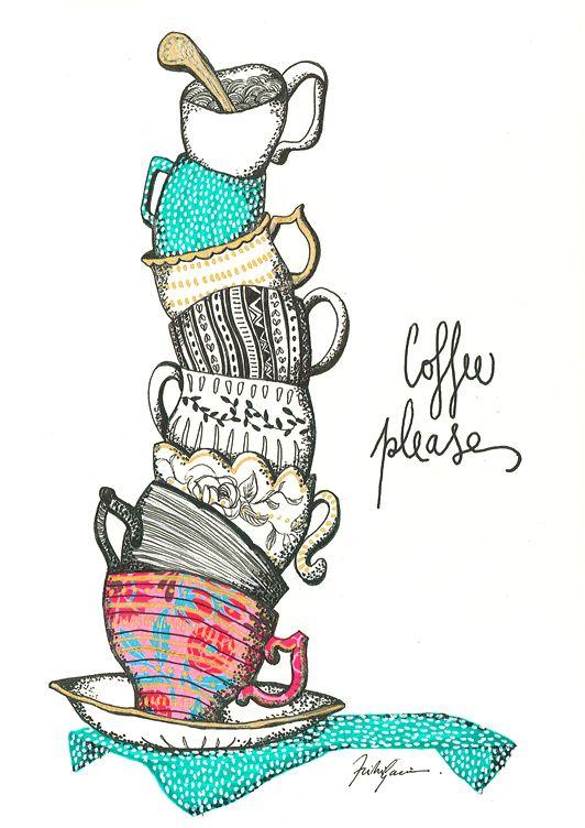 Trinidad García Illustration // #TntAs #coffee #cafe #cup #cups #taza #tazas #monday #lunes #illustration