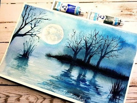 Easy Monochrome Landscape Watercolor Painting Watercolor For