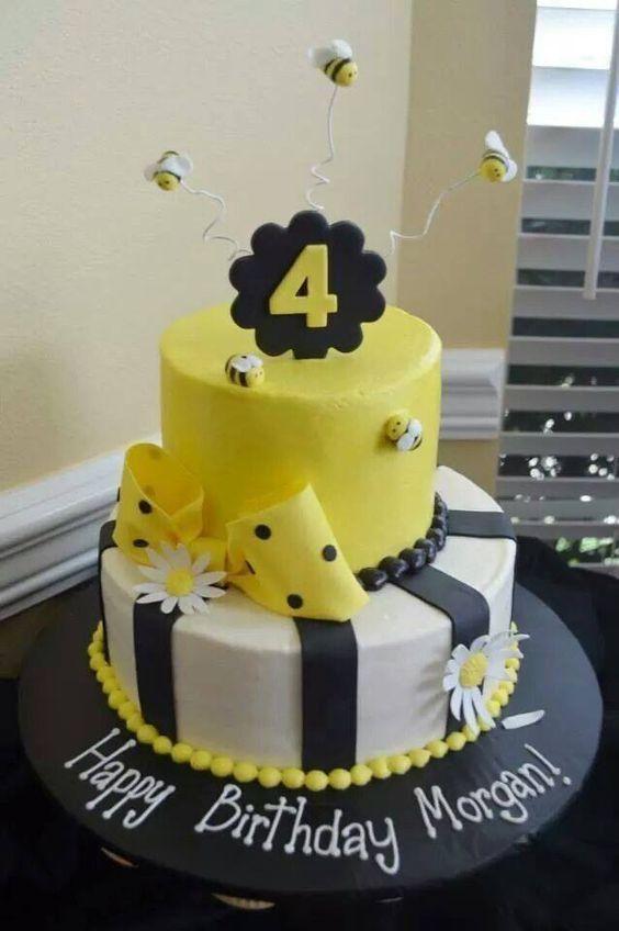 Fourth birthday bee cake