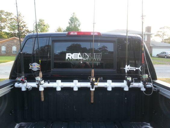 Diy truck bed rod holder gone fishin pinterest vests for Fishing rod holders for trucks
