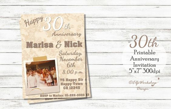 30th Wedding Anniversary Invitation with by ElfsWorkshopDesign