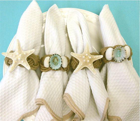 Beach Decor Seashell and Starfish Napkin by SeashellCollection: