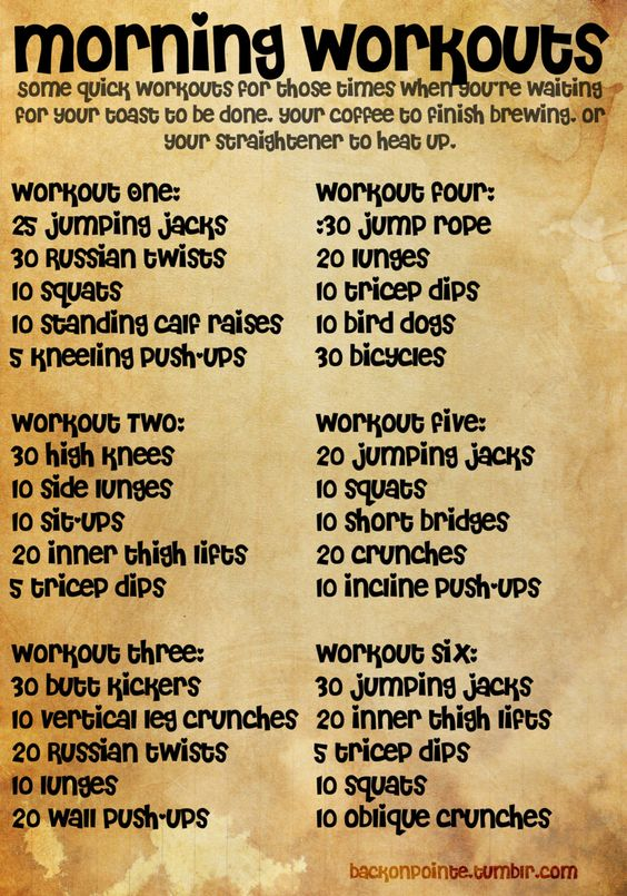 backonpointe:    Some short morning workouts for when you forgot to set the timer on your coffee maker. All bodyweight exercises that don't require much space, so you can even do them in a dorm room!  Also, this is saved in a larger size so you can print it out if you'd like. Just click the photo for the full size.    Bringing this back again for people just joining me now. :)