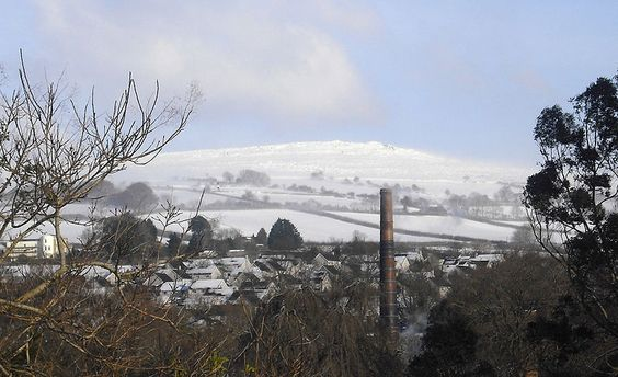 A view of Western Beacon on Dartmoor, as seen from the town of Ivybridge, Devon.