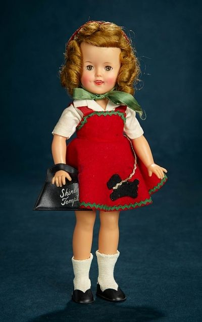 Shirley Temple Collections 237 Vinyl Shirley Temple By Ideal In Red Felt Scottie Pinafore Dress Shirley Temple Doll Clothes Red Felt
