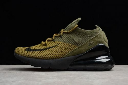 dirt cheap latest discount quality design Nike Air Max 270 Flyknit Olive Black-Yellow Mens and Womens ...