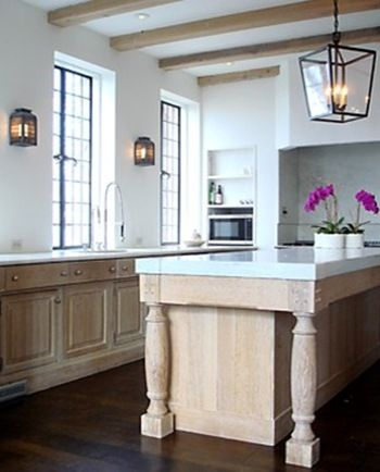Beams cabinets and lanterns on pinterest for Open kitchen no island