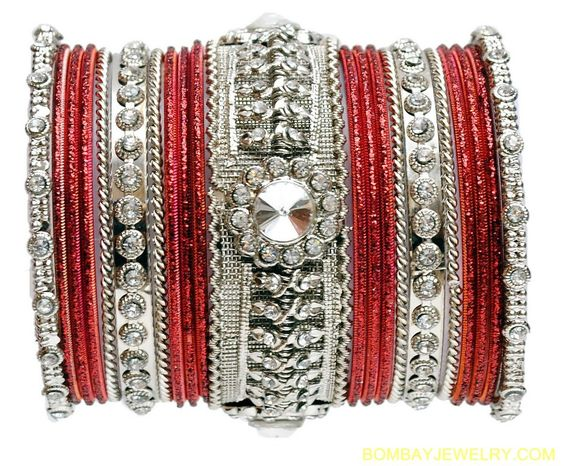 stone studded silverplated and maroon bangle�[Regular Price:                                    $30.35                                                                    Now only:                                    $15.18]