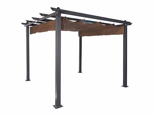 Coolaroo Aurora Aluminum Pergola Gazebo With Retractable Canopy Shades 10x10 Foot Mocha 454593 In 2020 Aluminum Pergola Outdoor Pergola Pergola Patio