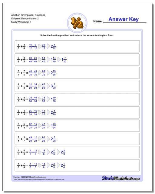 Https Www Dadsworksheets Com Addition Worksheet For Improper Fraction Worksheets Differ Fractions Worksheets Fractions Multiplication Subtracting Fractions