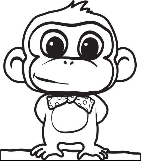 Cute Cartoon Monkey Coloring Page Cartoon Coloring Pages Monkey Coloring Pages Animal Coloring Pages